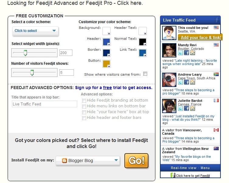 add Feedjit live traffic feed